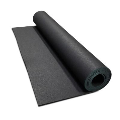 Isomertic Black 48 in. x 180 in. x 0.3 in. Rubber Gym/Weight Room Flooring Rolls (60 sq. ft.)