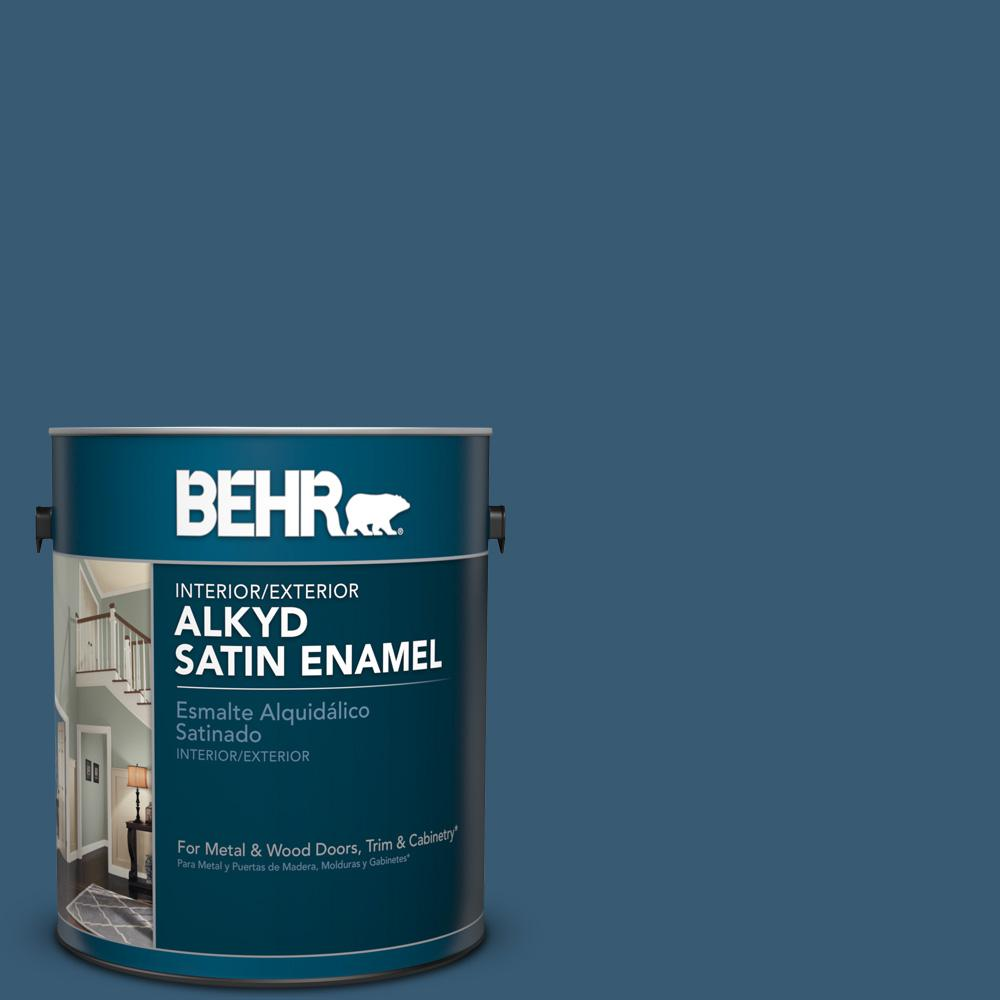 1 gal. #S490-7 Superior Blue Satin Enamel Alkyd Interior/Exterior Paint