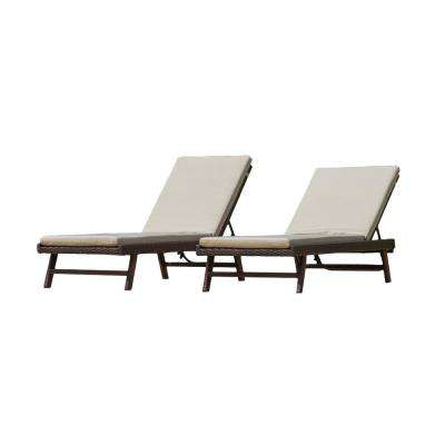 Arielle Multi-Brown 2-Piece Wicker Outdoor Chaise Lounge with Tan Cushions