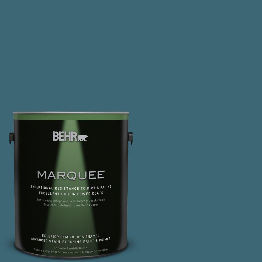 1-gal. #PMD-45 Teal Mosaic Semi-Gloss Enamel Exterior Paint