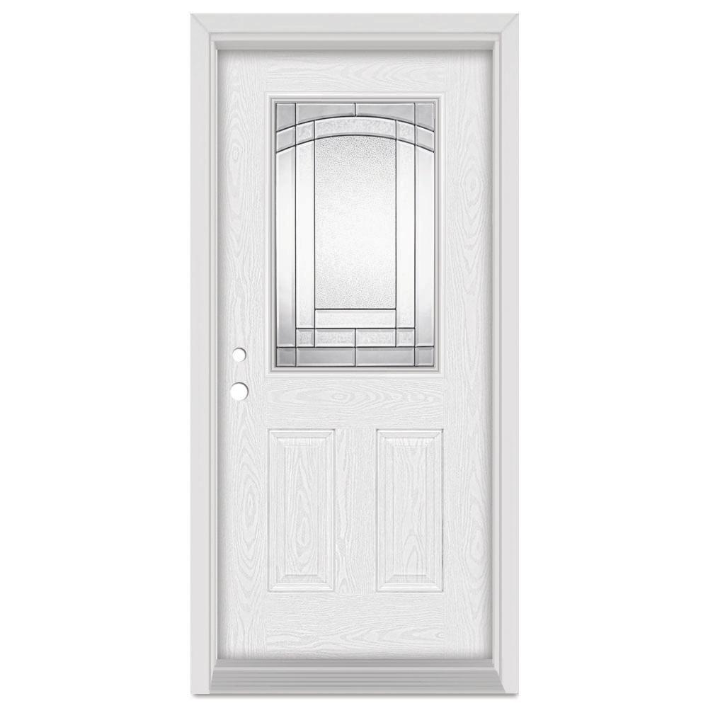 Stanley Doors 36 in. x 80 in. Chatham Right-Hand 1/2 Lite Patina Finished Fiberglass Oak Woodgrain Prehung Front Door Brickmould