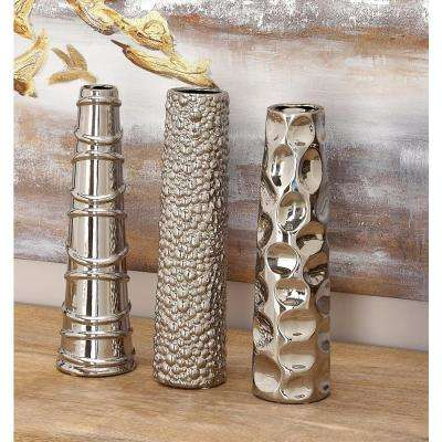 12 in. Tapered and Skewed Metallic Ceramic Decorative Vases (Set of 3)