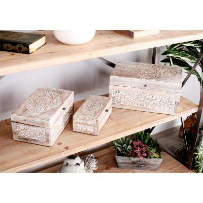 Rectangular Mango Wood Boxes with Lid and Whitewashed Botanical Scroll Carvings (Set of 3)