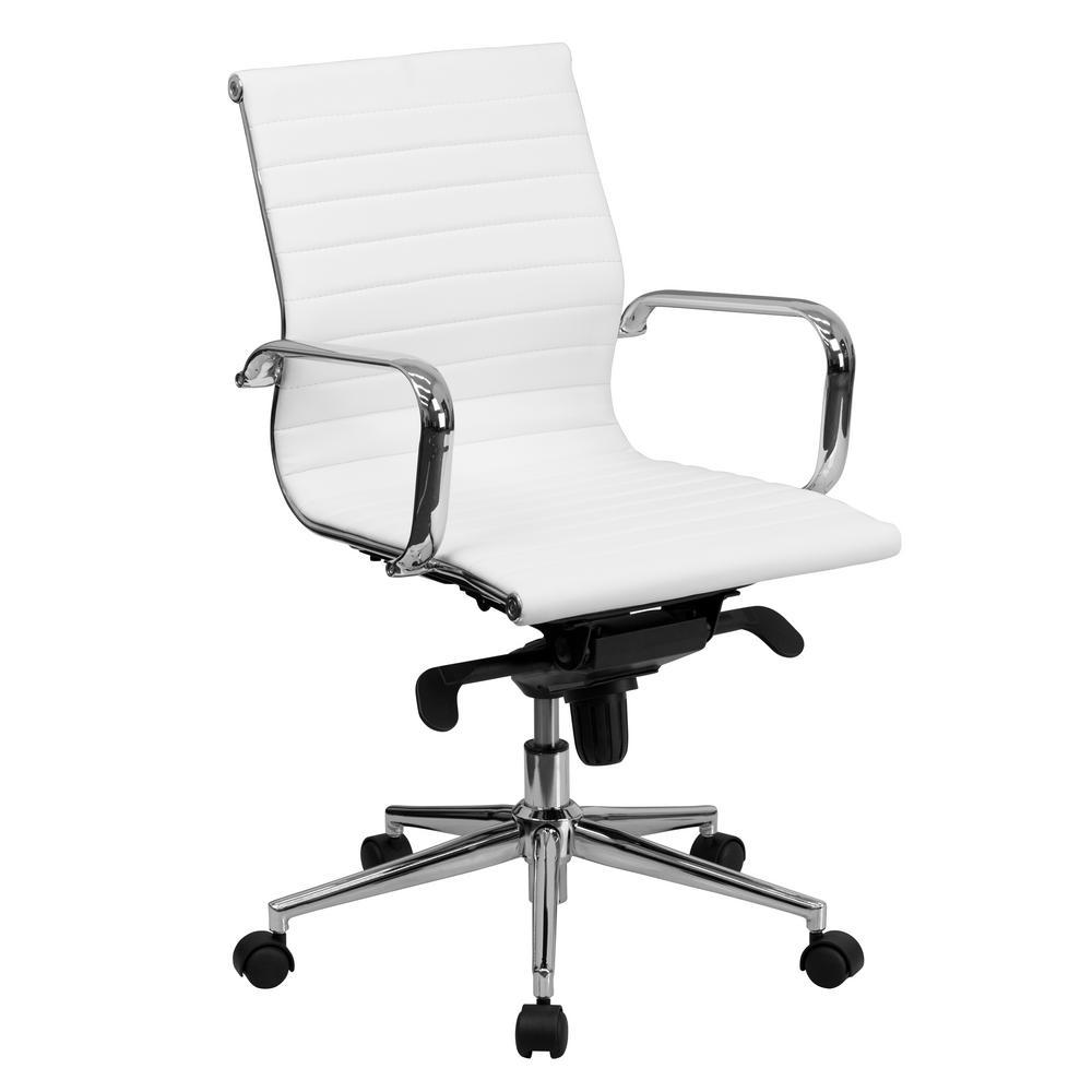 Mid-Back White Ribbed Upholstered Leather Swivel Conferen...