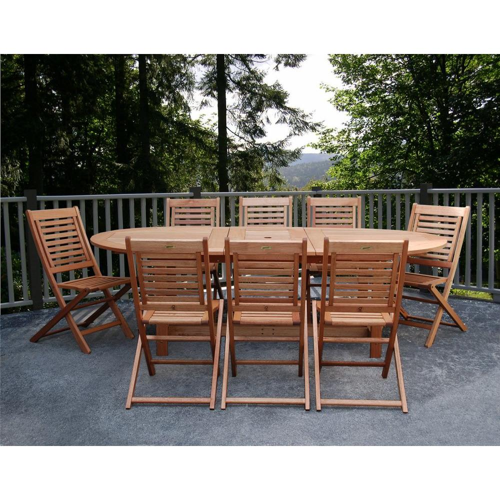 Amazonia Milano Grand 9 Piece Extendable FSC Eucalyptus Wood Patio Dining  Set