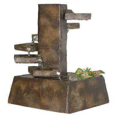 11 in. Tiered Stone Tabletop Fountain