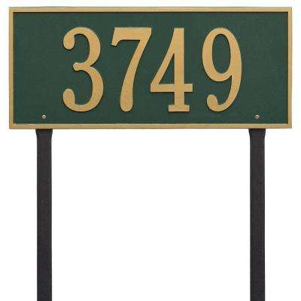 Hartford Rectangular Green/Gold Estate Lawn 1-Line Address Plaque