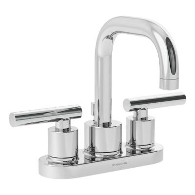 Dia 4 in. Centerset 2-Handle Bathroom Faucet with Drain Assembly in Chrome