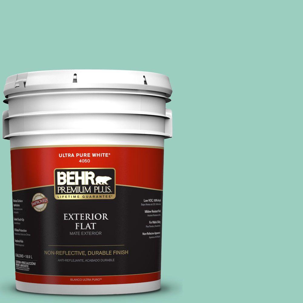 BEHR Premium Plus 5-gal. #HDC-SM14-6 Thermal Aqua Flat Exterior Paint