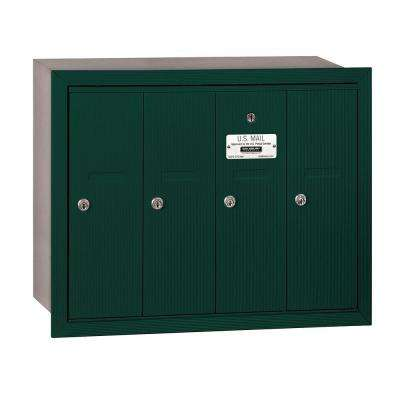 3500 Series Green Recessed-Mounted Private Vertical Mailbox with 4 Doors