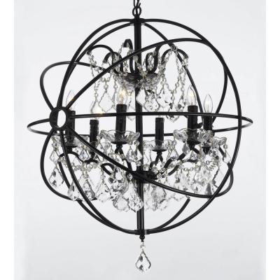 Contemporary 6 Light Orb Iron and Crystal Black Chandelier