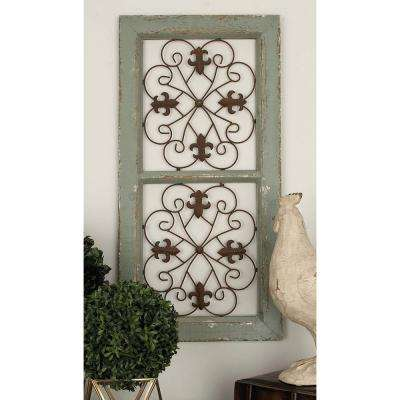 16 in. x 31 in. French-Inspired Gray Fleur De Lis Window Style Wall Panel