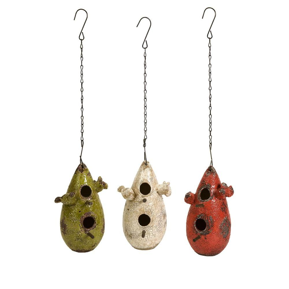 Filament Design Lenor 9.25 in. Multi-Colored Clay Bird Houses (Set of 3)