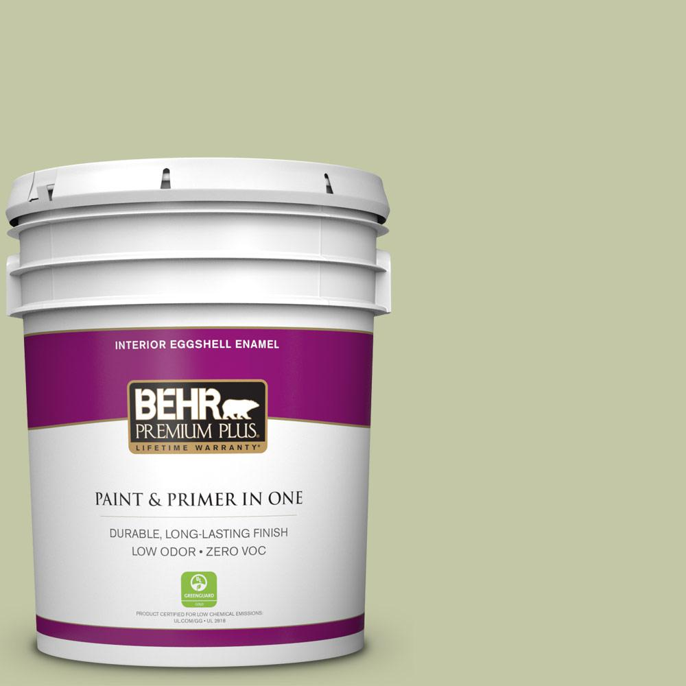 BEHR Premium Plus 5-gal. #410E-3 Rejuvenate Zero VOC Eggshell Enamel Interior Paint