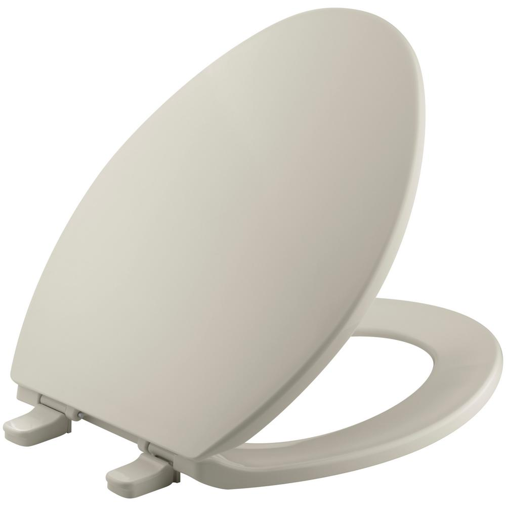 Brevia Elongated Closed Front Toilet Seat with Quick-Release Hinges in Sandbar