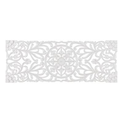 Malito 18 in. x 48 in. White Medallion by Madeleine Home Wooden Wall Art Sculptures