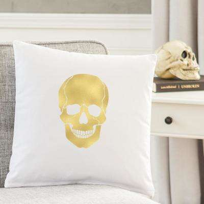 16 in. L x 16 in. W Gold Skull Halloween Throw Pillow