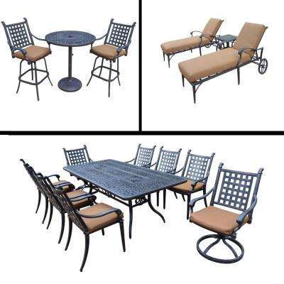 Belmont Premier 15-Piece Aluminum Outdoor Dining Set with Sunbrella Brown Cushions