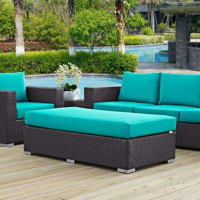Convene Wicker Outdoor Patio Fabric Rectangle Ottoman in Espresso with Turquoise Cushion