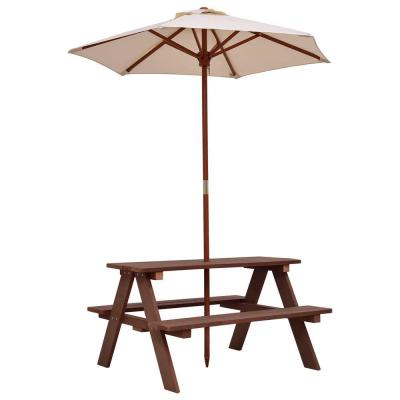 4-Seat Kid's Wood Outdoor Picnic Table Bench with Umbrella