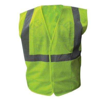 Size Extra-Large Lime ANSI Class 2 Poly Mesh Safety Vest 2 in. Silver Striping