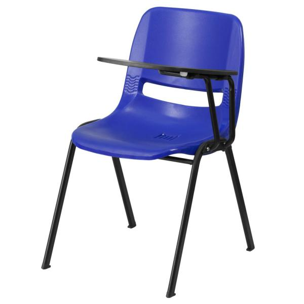 Flash Furniture Blue Ergonomic Shell Chair with Left Handed Flip-Up Tablet