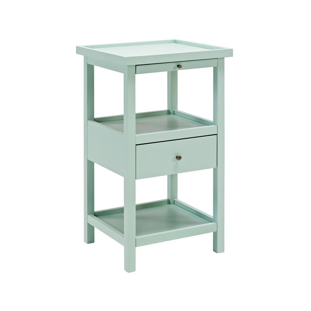 Palmer Aqua Table with Shelf