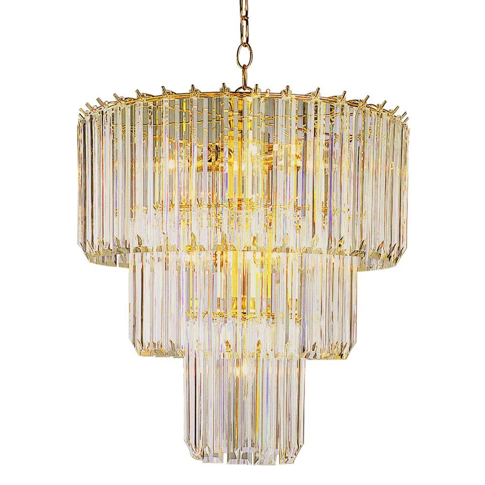 Bel Air Lighting Stewart 9-Light Polished Brass Chandelier with Beveled Acrylic Crystal Shades