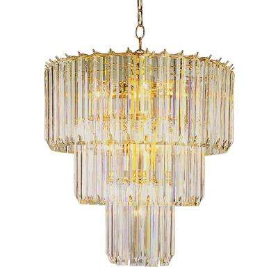 Stewart 9-Light Polished Brass Chandelier with Beveled Acrylic Crystal Shades