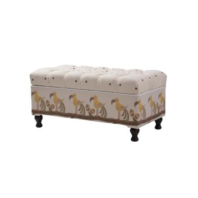 Naomi Tufted Entryway Storage Bench Ivory & Brown