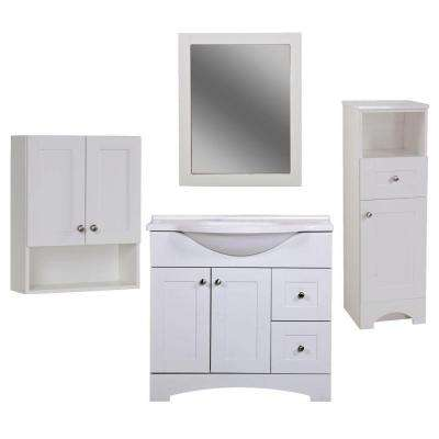 Del Mar Bath Suite with 36 in. Vanity with Vanity Top in Linen Tower OJ and Wall Mirror in White