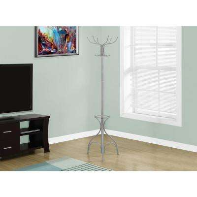Silver 10-Hook Coat Rack