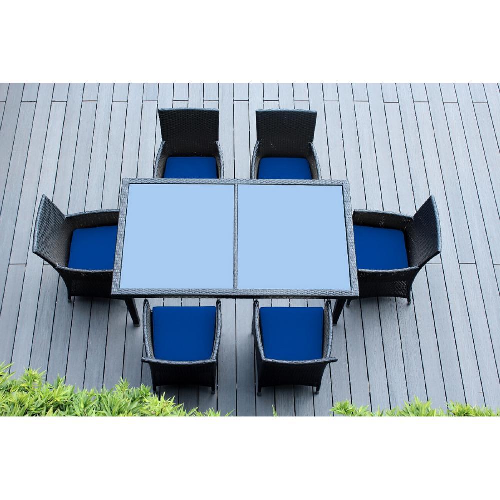 Ohana Black 7-Piece Wicker Patio Outdoor Dining Set with Sunbrella Pacific Blue Cushions