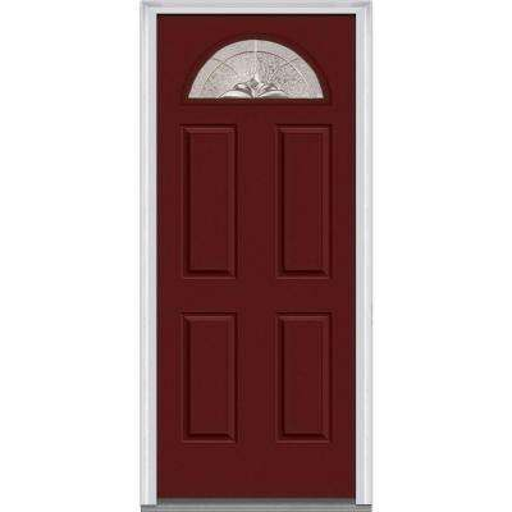 32 in. x 80 in. Heirloom Master Right-Hand 1/4-Lite Decorative 4-Panel Painted Fiberglass Smooth Prehung Front Door