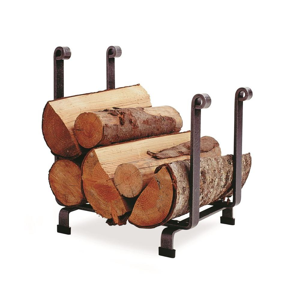 Hearth Log Rack with Hammered Steel Finish