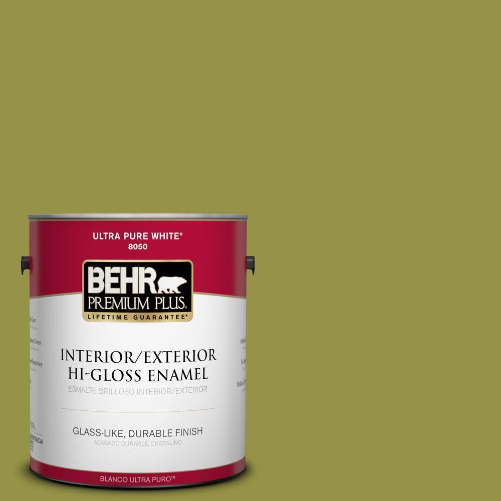 BEHR Premium Plus Home Decorators Collection 1-gal. #HDC-FL13-8 Tangy Dill Hi-Gloss Enamel Interior/Exterior Paint