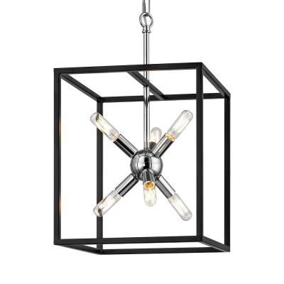 Halley 12 in. 6-Light Matte Black Pendant with Polished Chrome Center