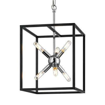Halley 12 in. 6-Light Matte Black and Polished Chrome Pendant