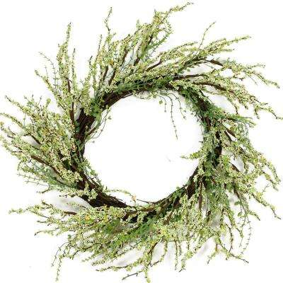 12 in. Unlit Green and Brown Decorative Berry Artificial Spring Twig Wreath