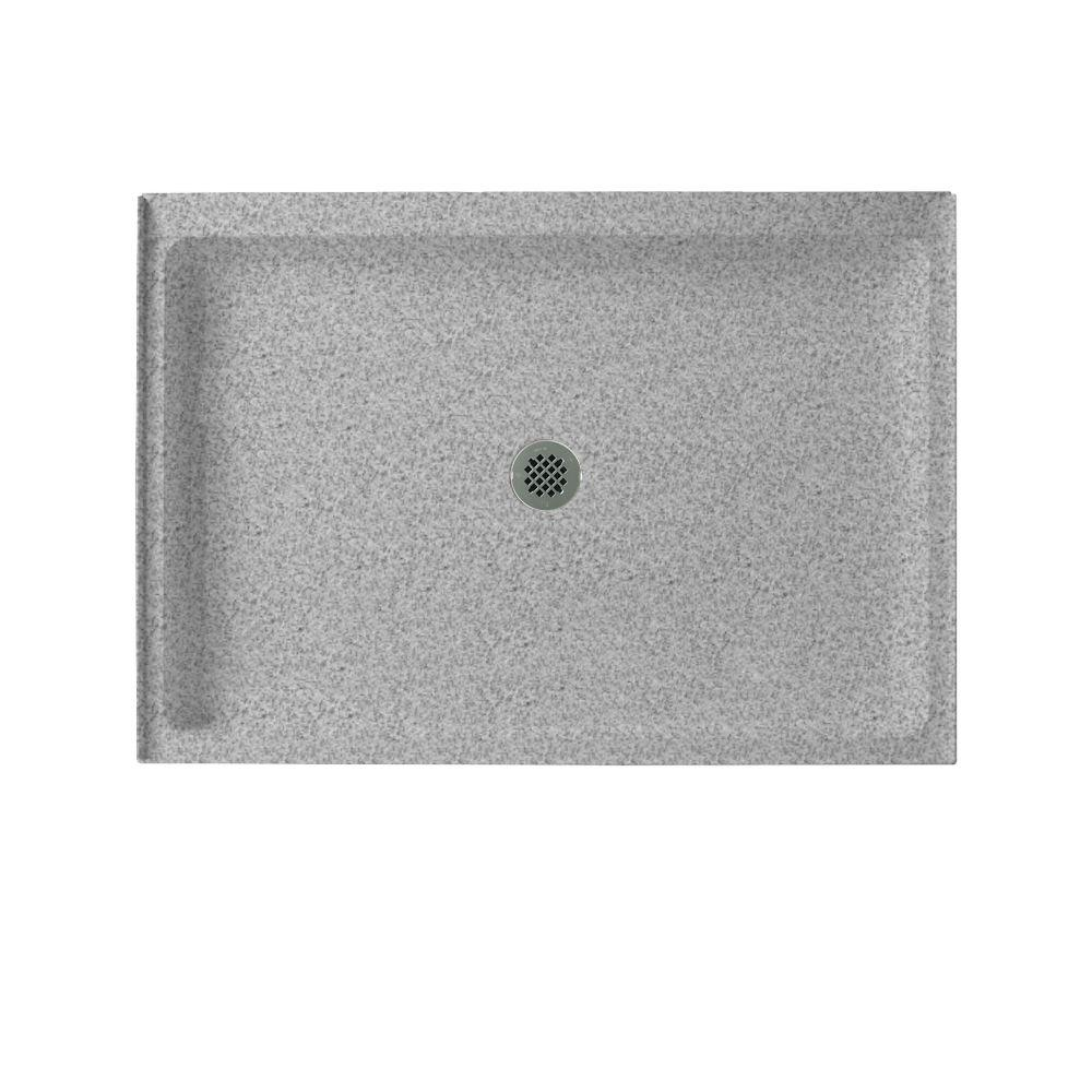 Swanstone 34 in. x 42 in. Single Threshold Shower Floor in Gray Granite-DISCONTINUED