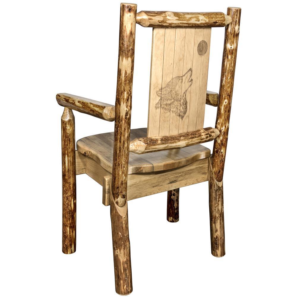 Montana Woodworks Glacier Brown Wood Laser Engraved Wolf Motif Captainu0027s  Chair