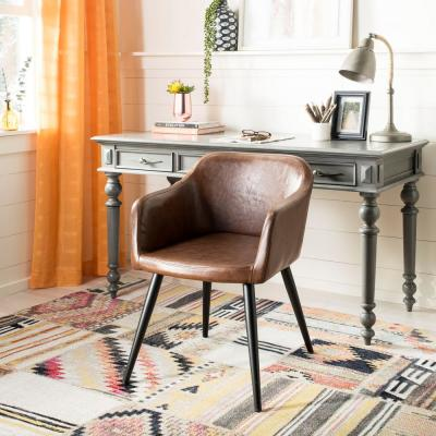Adalena Brown Leather Accent Chair