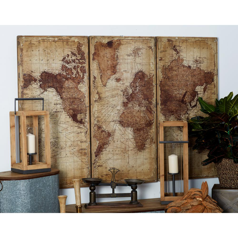 47 in. x 22 in. World Map Printed Wood Wall Art