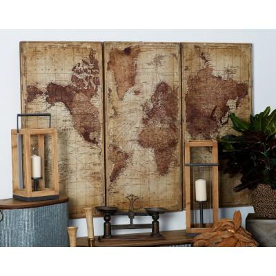 47 in. x 22 in. World Map Printed Wood Wall Art (Set of 3)