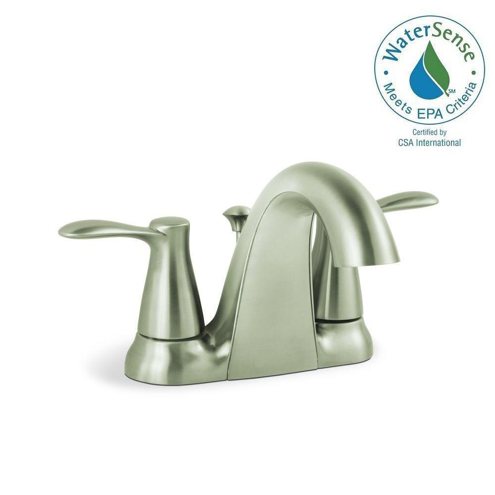 Glacier Bay Gable 4 in. Centerset 2-Handle Mid-Arc Bathroom Faucet ...
