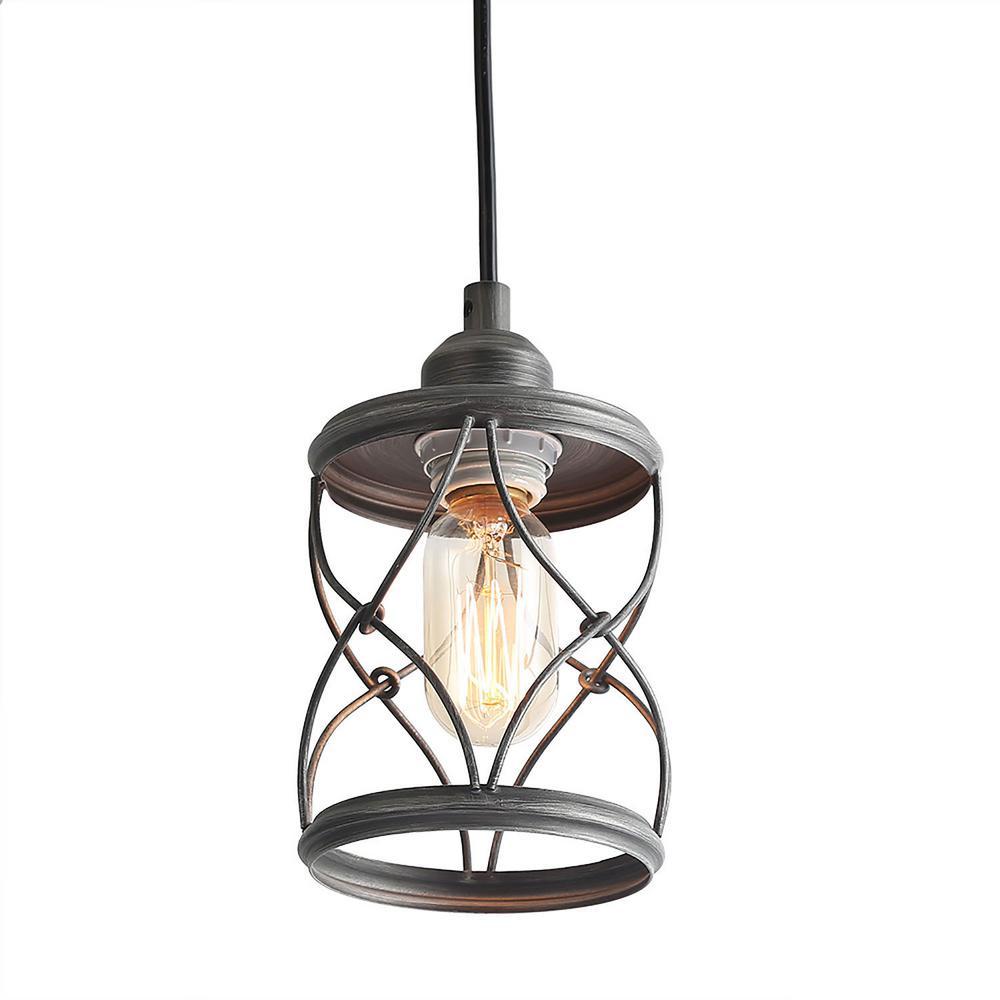 1-Light Modern Dark Pewter Geometric Mini-Pendant with Cage Design Shade