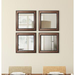 17.5 in. x 17.5 in. Canyon Bronze Square Wall Mirrors (Set of 4)