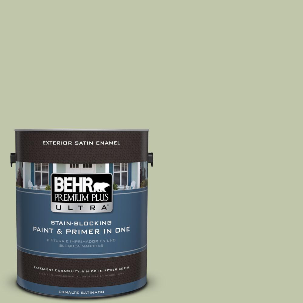 BEHR Premium Plus Ultra 1-gal. #PPU10-8 Minted Lemon Satin Enamel Exterior Paint