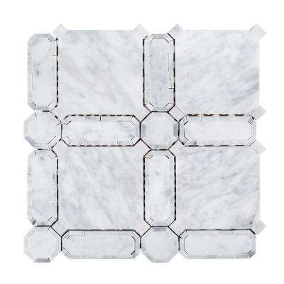 Windsor White 11.625 in. x 11.625 in. x 10 mm Geometric Polished Marble Wall and Floor Mosaic Tile