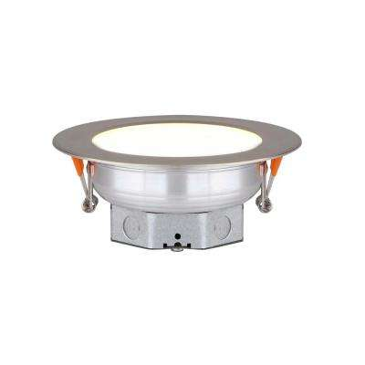 Round Slim Disk 4.25 in. Nickel New Construction Recessed Integrated LED Trim Kit